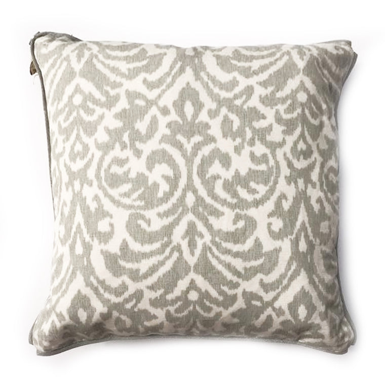 THE GALA PILLOW  -  Gray & white Ikat Pattern  -  22x22  -  Two in Stock  -  FREE SHIPPING