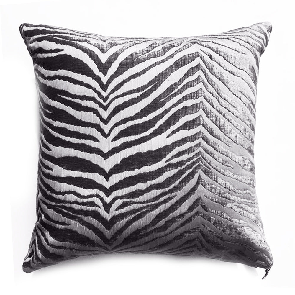 THE GAYLE PILLOW  -  Gray & pewter cut velvet zebra print  - 22x22  -  Two in Stock  -  FREE SHPPING