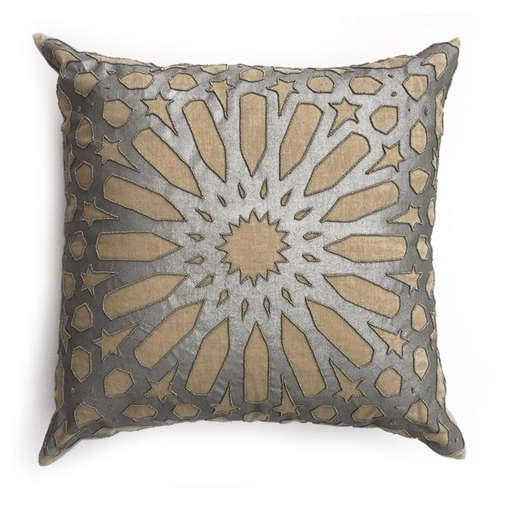 "THE GEMMA PILLOW - NaturaL Linen/Silver  -  22"" x 22"""