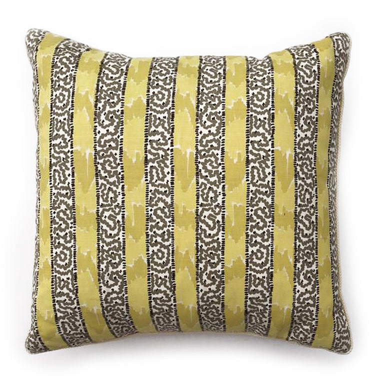 "THE GRACE CUSTOM STRIPE PILLOW   -  Camel, Grey and White  -  22"" x 22"""