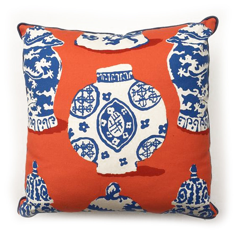 THE KATHY PILLOW  -  Blue & White Jars on Orange  -  24x24
