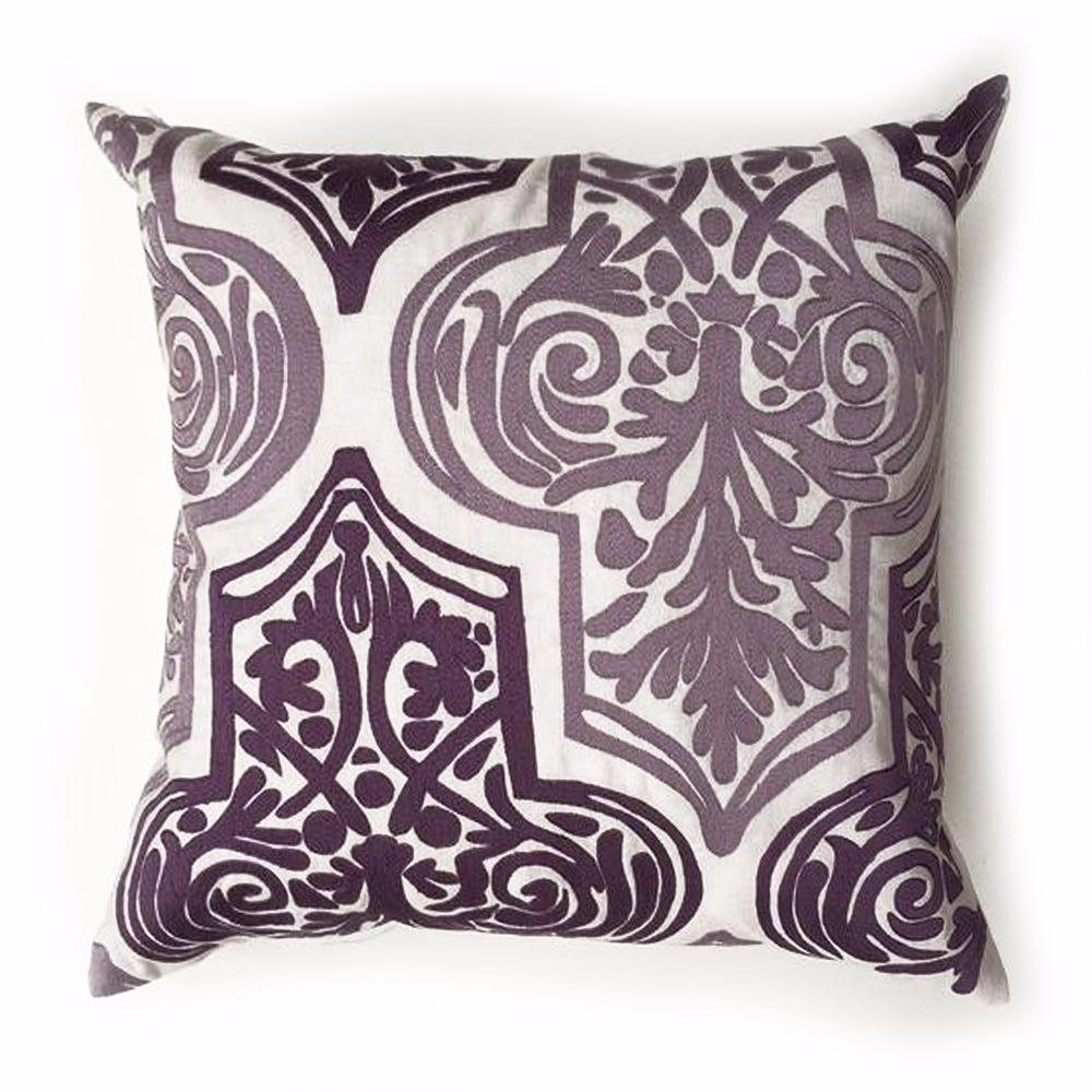 "THE LIBBY PILLOW  -  White / Lavender  -  20"" X 20""  -  Two in Stock  -   FREE SHIPPING"