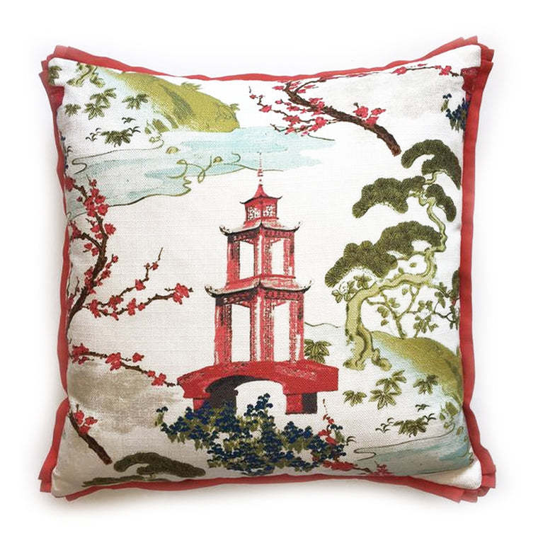"THE MATILDA PILLOW  -  Bold Asian Pattern  -  23"" X 23""  -   Two in Stock  -   FREE SHIPPING"