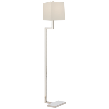 FLOOR LAMP IN POLISHED NICKEL WITH LINEN SHADE