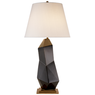 TABLE LAMP IN BLACK WITH LINEN SHADE