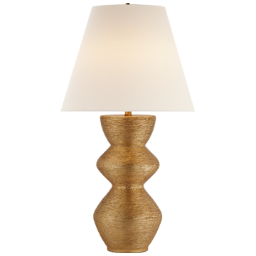 TABLE LAMP IN GILD WITH LINEN SHADE