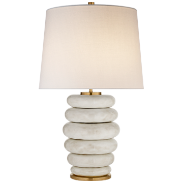 STACKED TABLE LAMP IN ANTIQUE WHITE WITH LINEN SHADE