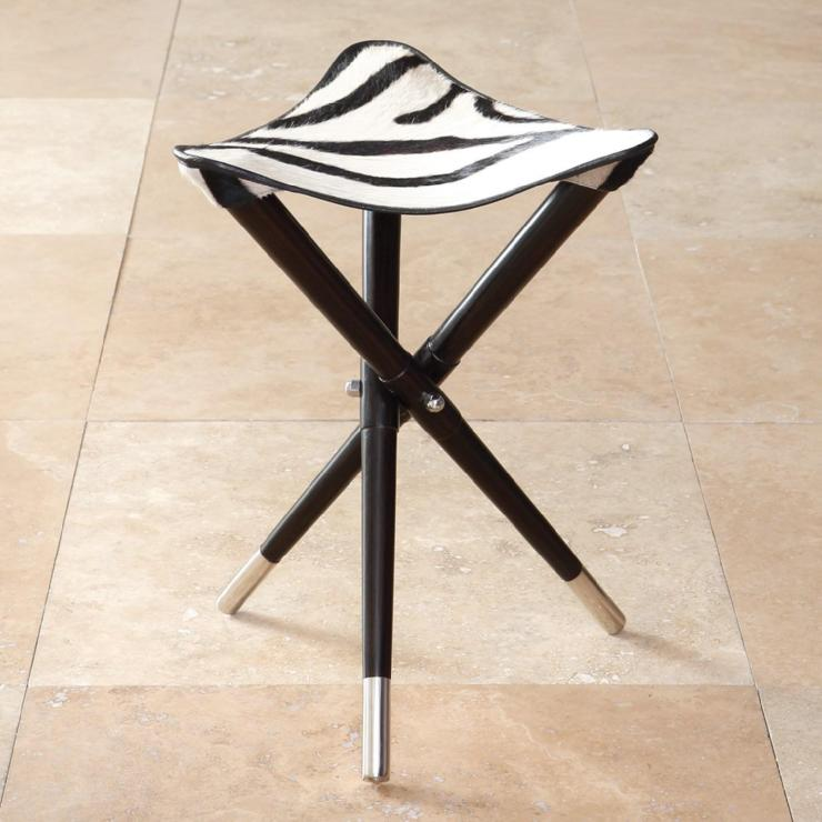 Elegant Camp Stool - Hair on Zebra
