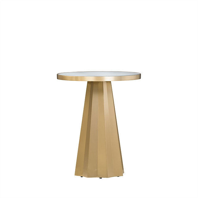 GOLD PEDESTAL SIDE TABLE W/MIRROR