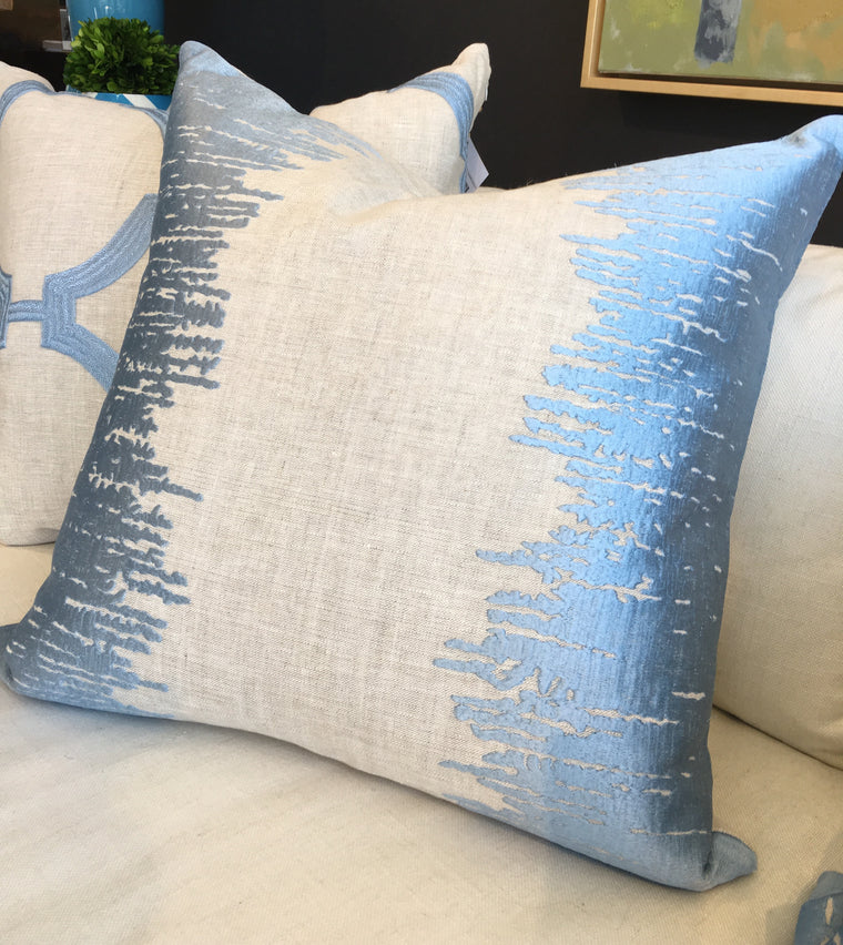 "ZZ -  THE BABETTE PILLOW  -  Oatmeal with Blue Embroidery  -  22"" X 22""   - Two in Stock"