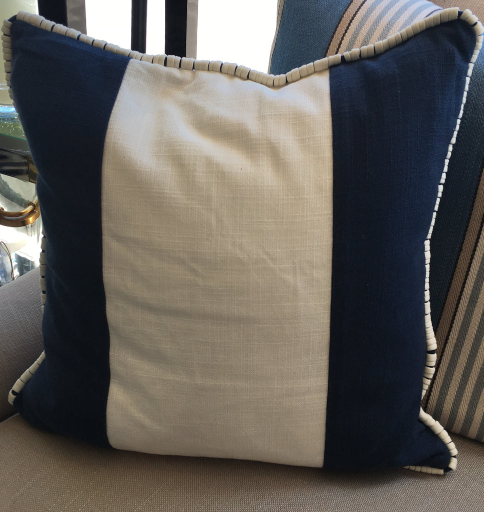 "Z - THE BREEZY PILLOW  - Brilliant Blue and White Strip   -  18"" X 18""  -   Two in Stock"