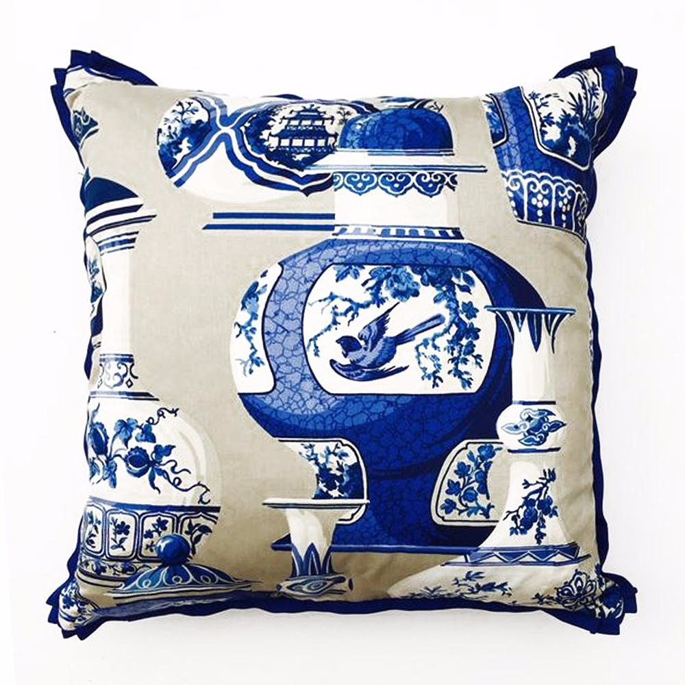 "THE BRENDA PILLOW  -  Ming Vase Blue  -  23"" x 23""  -  Two in Stock  -   FREE SHIPPING"