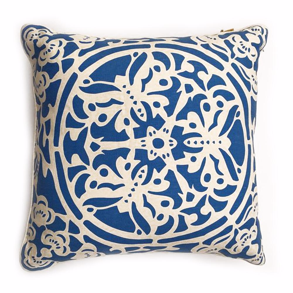 "THE BRIGIT PILLOW  -  Linen in Blues  -  22"" x 22""  -   One in Stock  -  FREE SHIPPING"