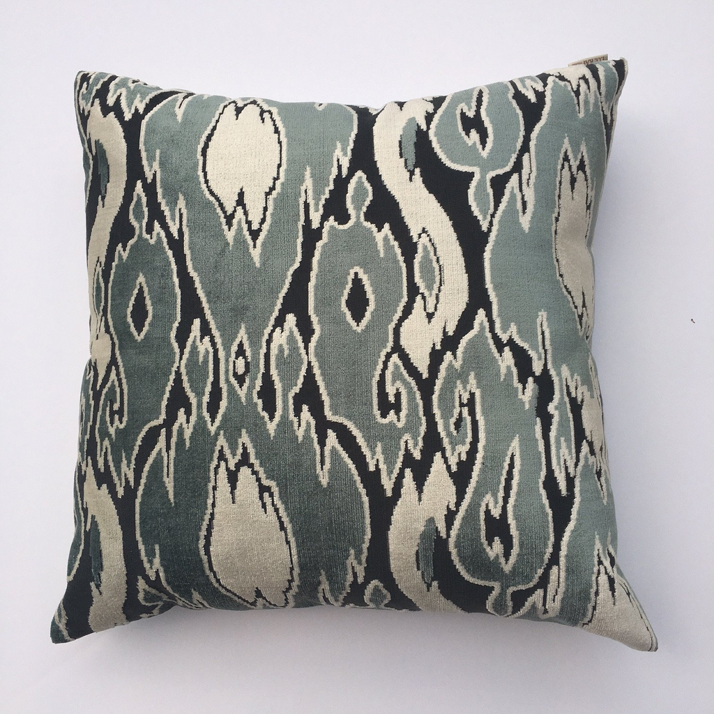 "THE BETHANY PILLOW  -  Warm Green, Gray and Cream Tones  -  22"" x 22""  -  Two in Stock  -   FREE SHIPPING"