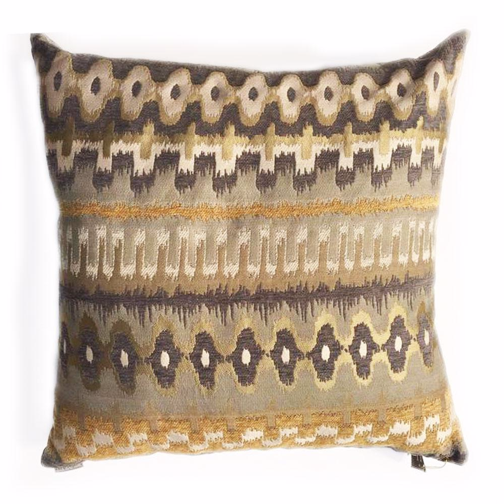 "THE GRACE PILLOW  -  Camel, Pewter and White Geometric Pattern  -  22"" X 22""  -  Two in Stock  -  FREE SHIPPING"