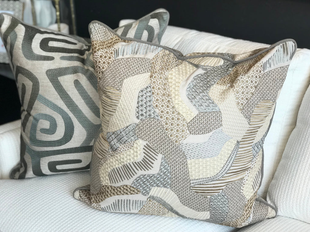 EMY PILLOW -Taupe and Grey Print - 22 x 22