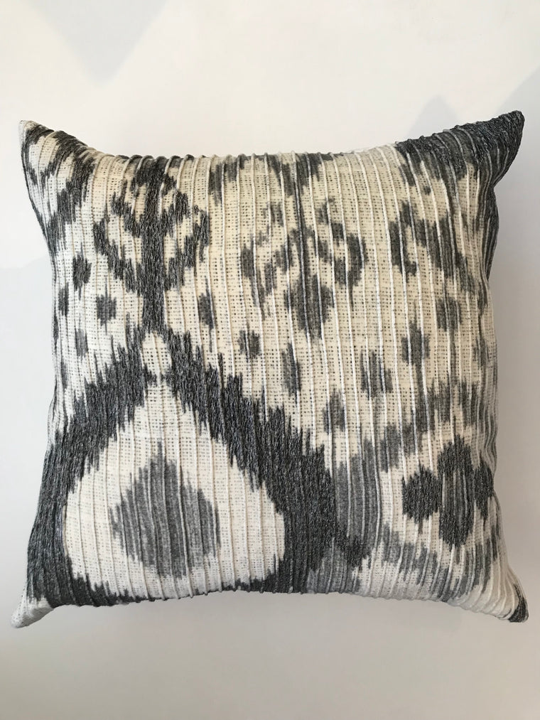 THE CALLE PILLOW- CREME AND CHARCOAL IKAT- 22X22-Two in Stock-FREE SHIPPING