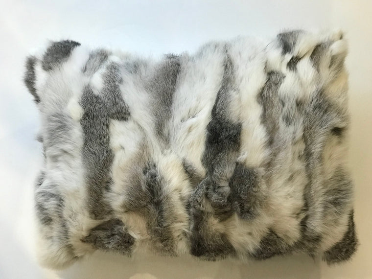 REX LUMBAR PILLOW- Gray and White Fur- 13x20-ONE in Stock