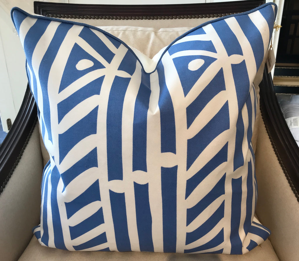 BRYAN PILLOW- Blue and White Pattern- 23 x 23- TWO In Stock