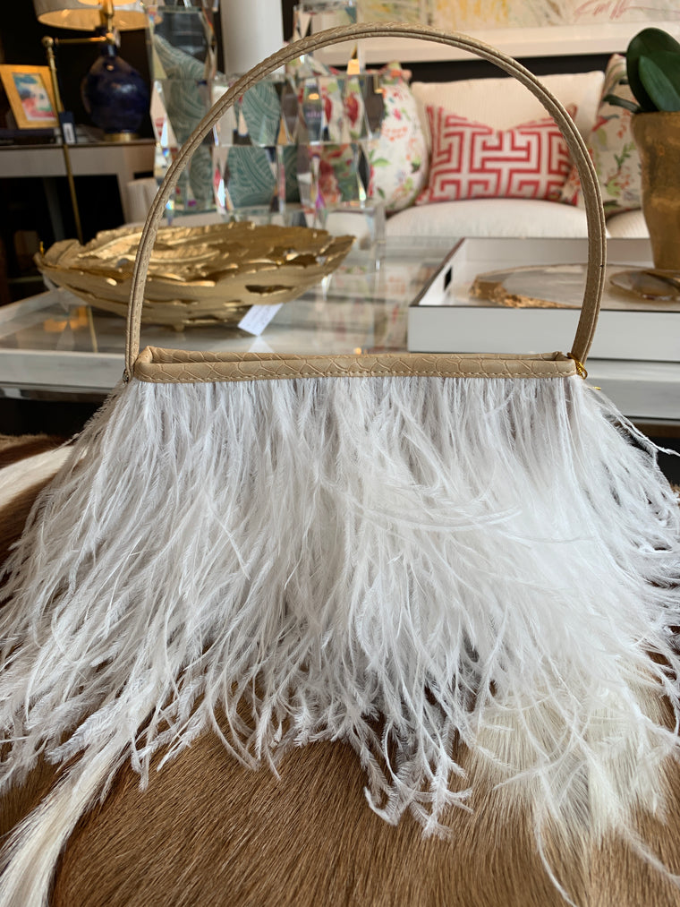 OSTRICH FEATHER PURSE WHITE