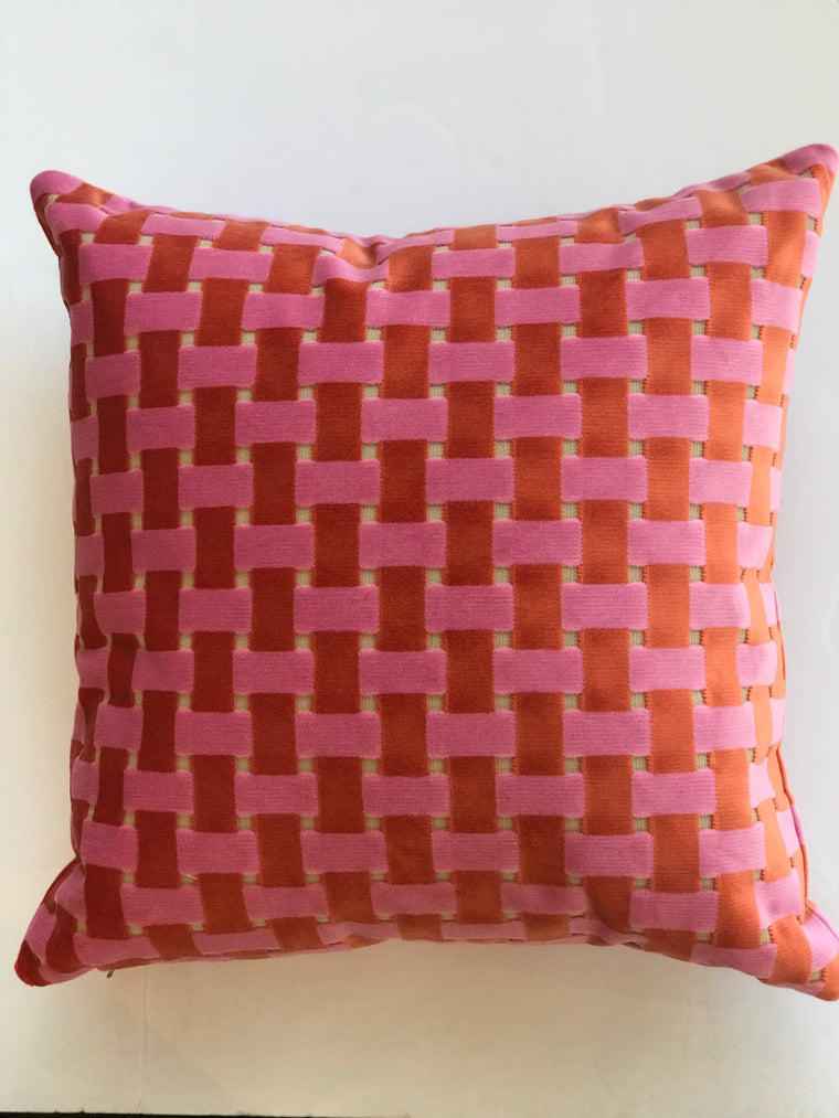 Gwen Pillow- Pink and Orange- 23 x 23- Two in Stock