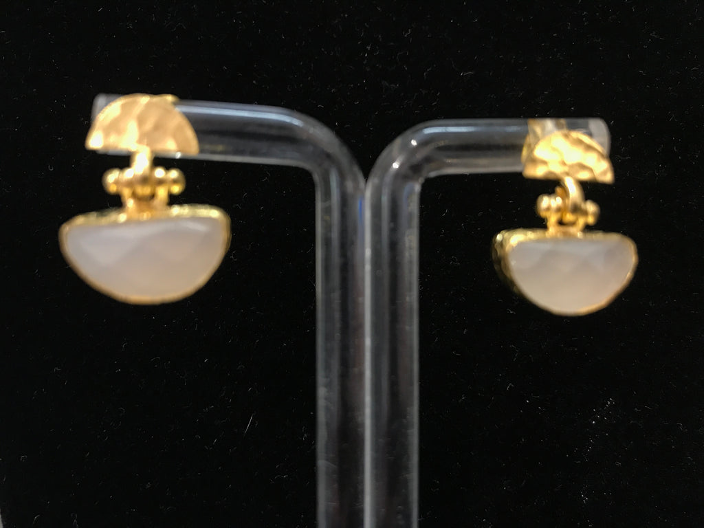 BRASS EARRINGS W/ LABRADORITE OR WHITE ONYX