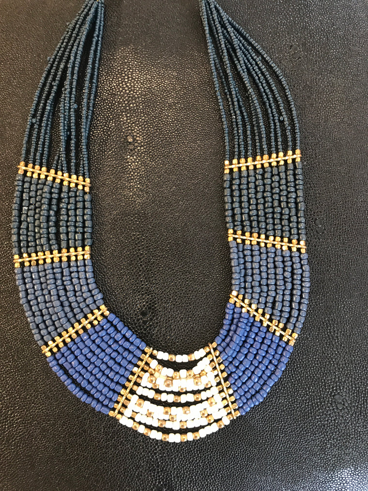 MONACO BLUE/GOLD/WHITE BEADED STATEMENT NECKLACE