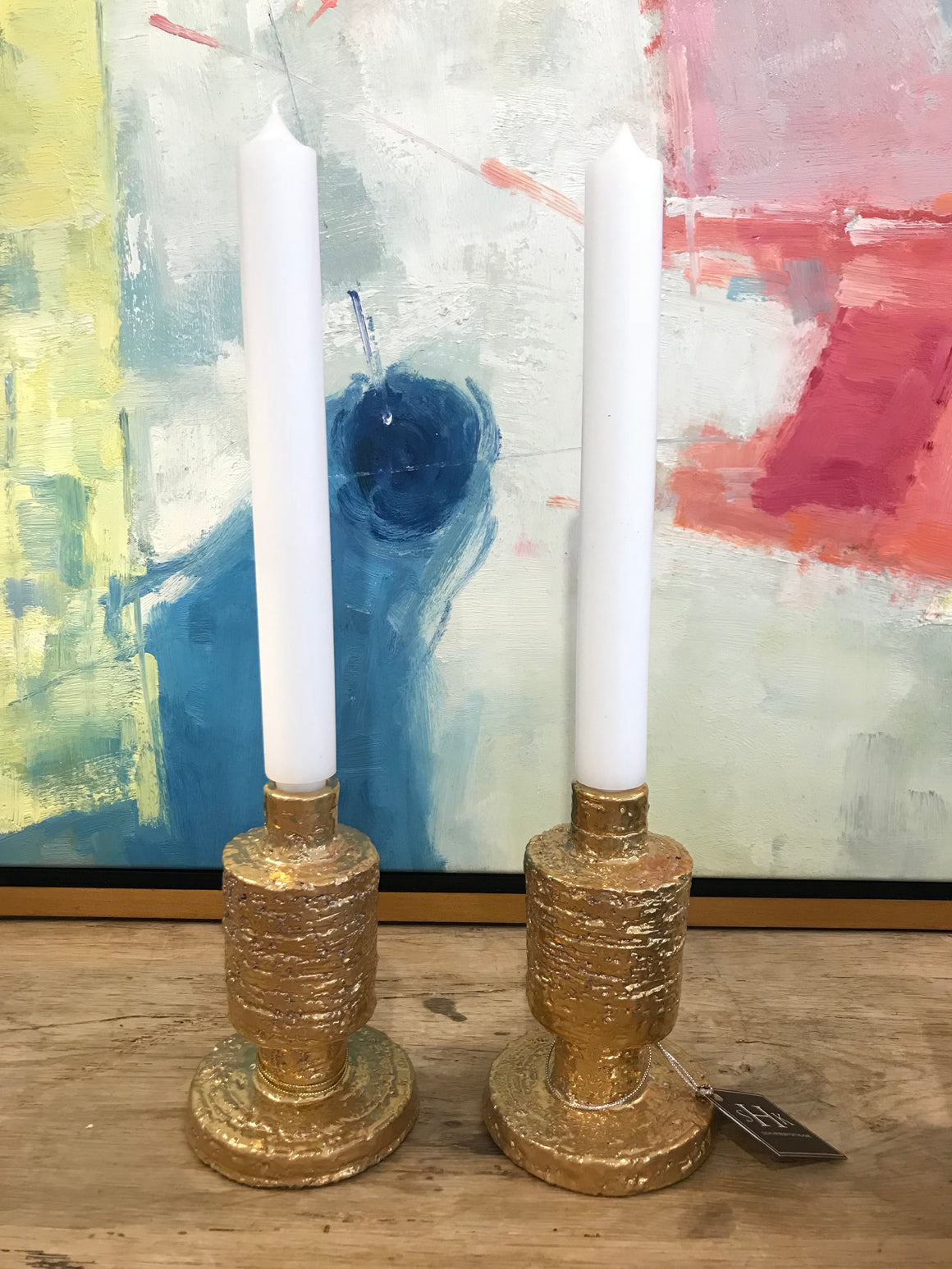 HANDMADE CANDLE HOLDER W/CANDLE-Sold as a pair-$205each