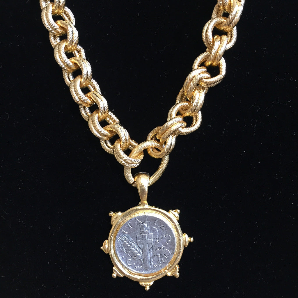 GOLD LINK ITALIAN COIN NECKLACE