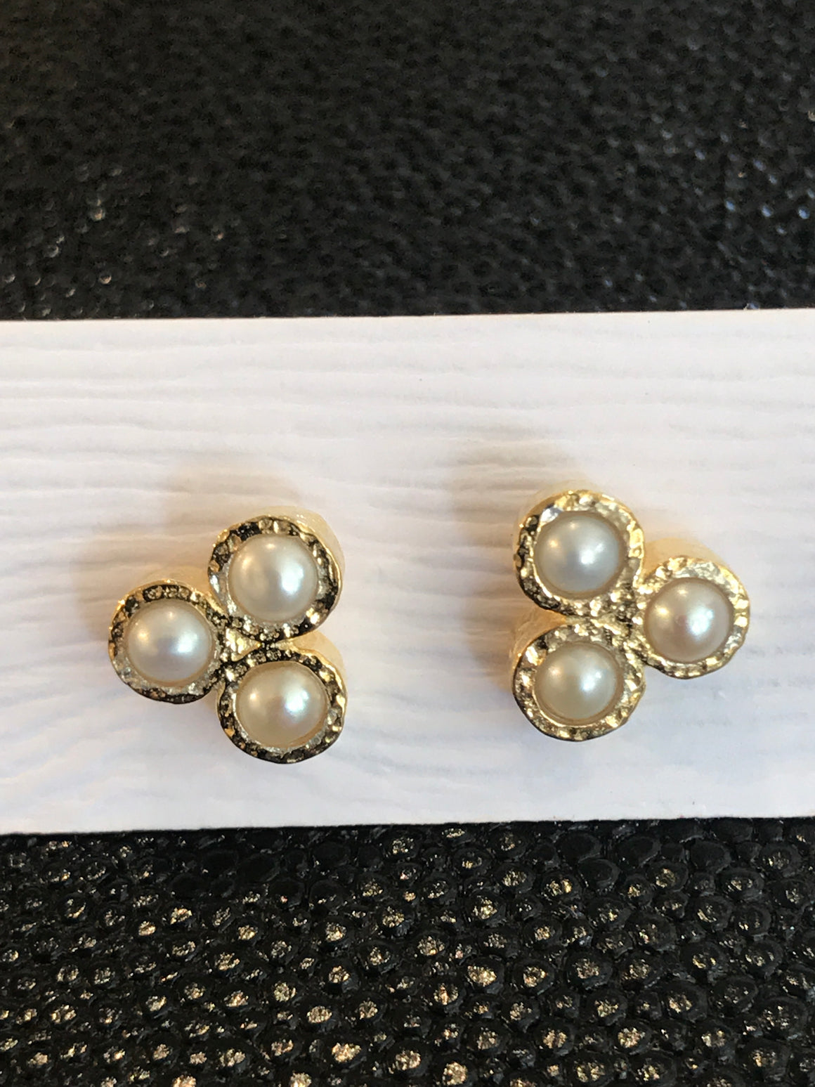THREE PEARL STONE EARRINGS
