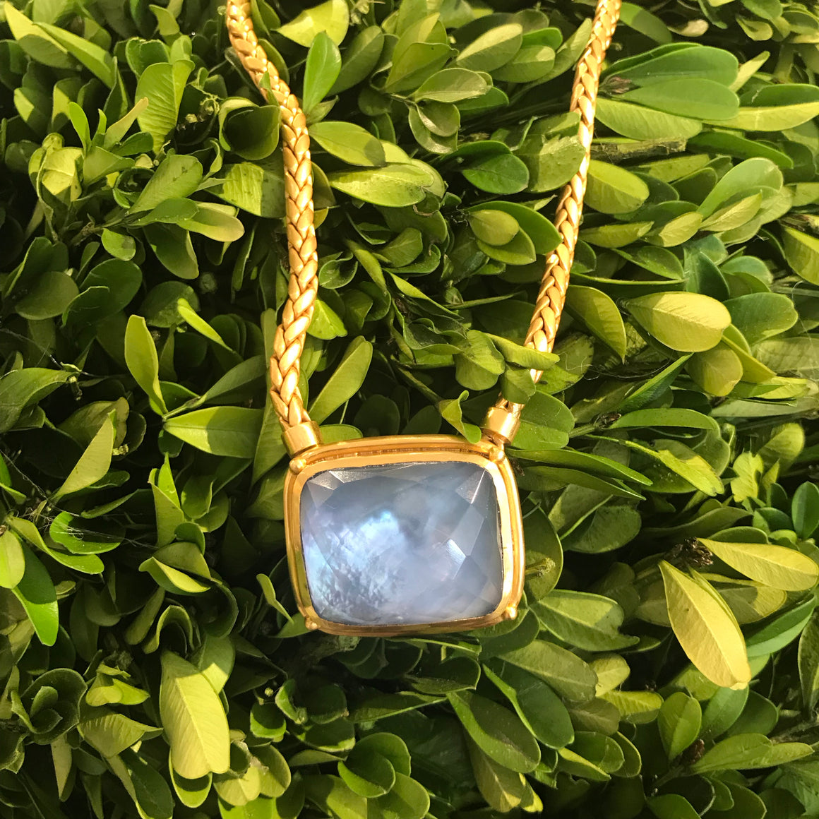 MONTEREY STATEMENT NECKLACE IRIDESCENT CHALCEDONY BLUE