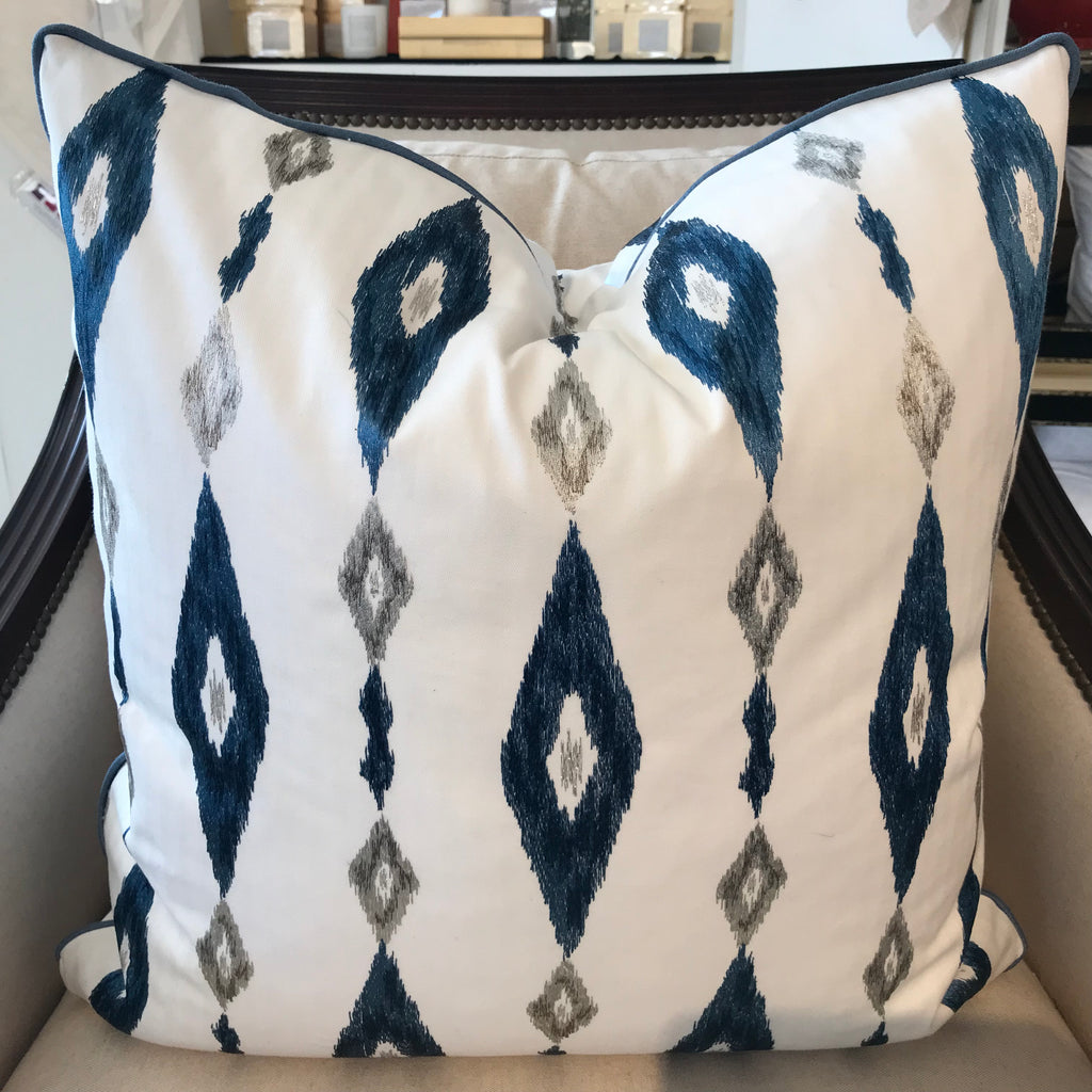 BECKY PILLOW - Blue and White Pattern- 23 x 23- TWO In Stock