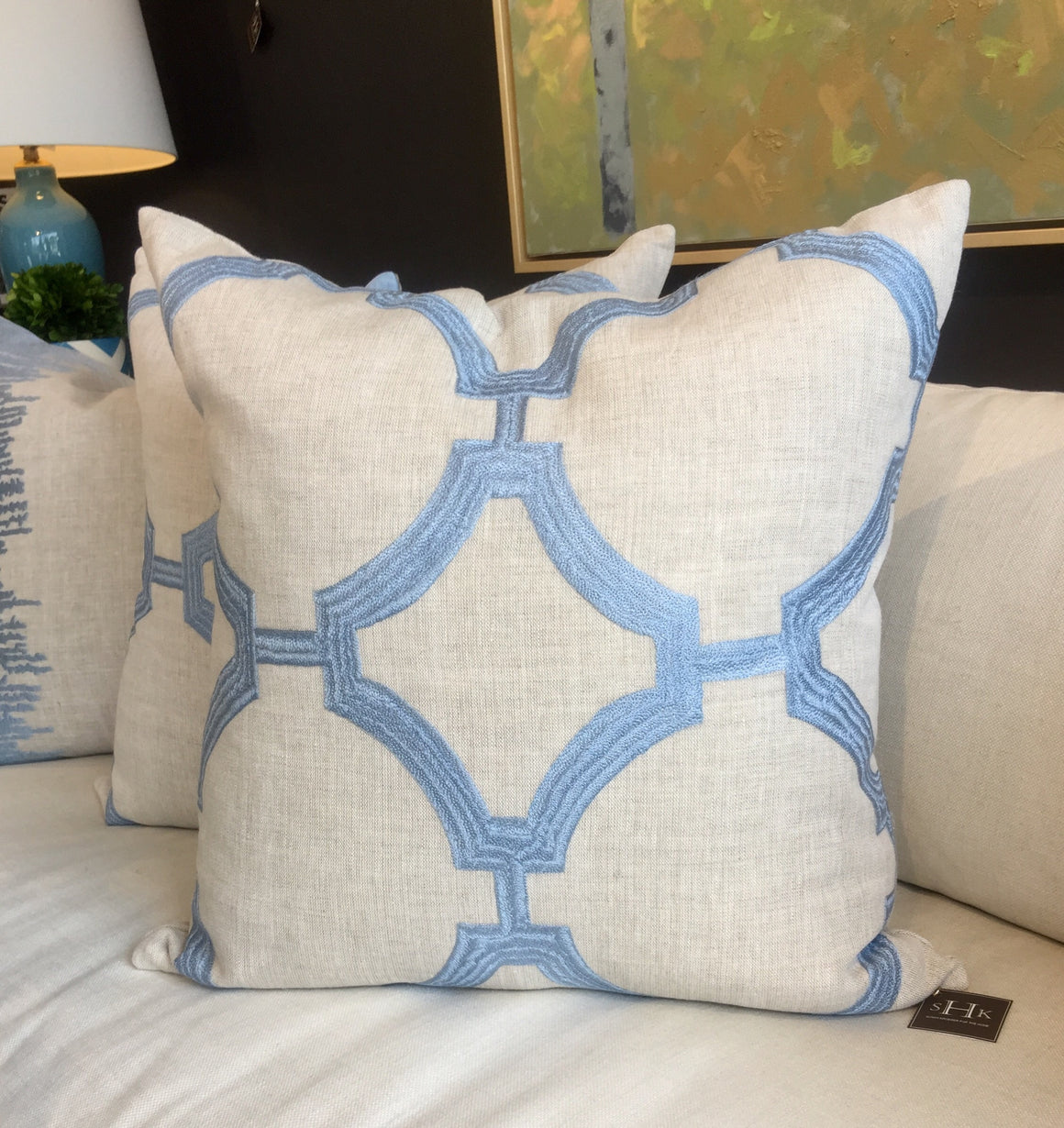 "A - THE BERRY PILLOW - Oatmeal with Blue Embroidery  - 22"" X 22""  -  Two in Stock  -   FREE SHIPPING"