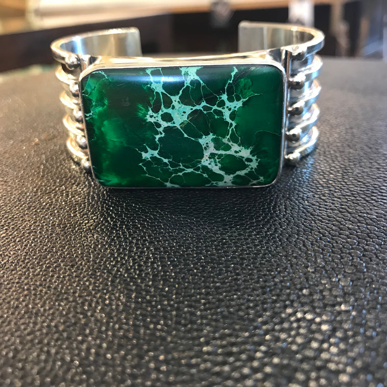 LARGE SILVER CUFF WITH GREEN GEM
