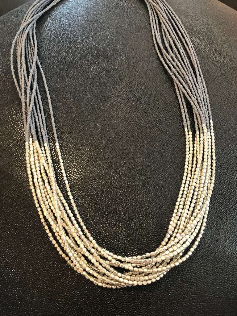 WATERFALL GREY AND SILVER BEADED NECKLACE