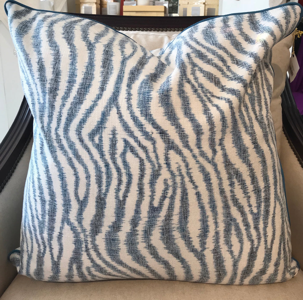 A.  BAILEY PILLOW - Blue and White Pattern- 23 x 23- ONE In Stock