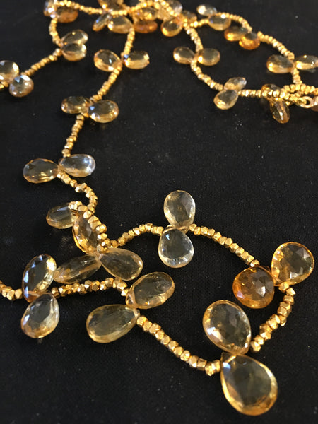 GOLD NUGGET LONG NECKLACE W/CITRINE BRIOLETTES