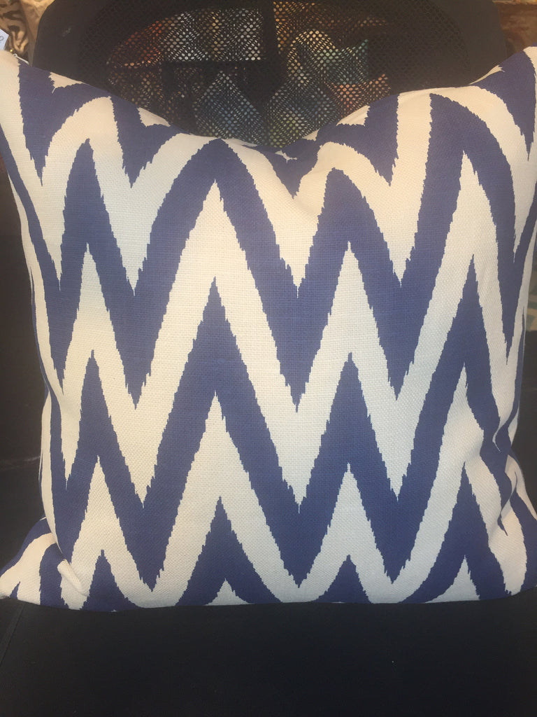 "Z - HE BRITTANY PILLOW  -  Zig-Zag Pattern in Blue & White  -   22"" x 22""  -   Two in Stock  -   FREE SHIPPING"