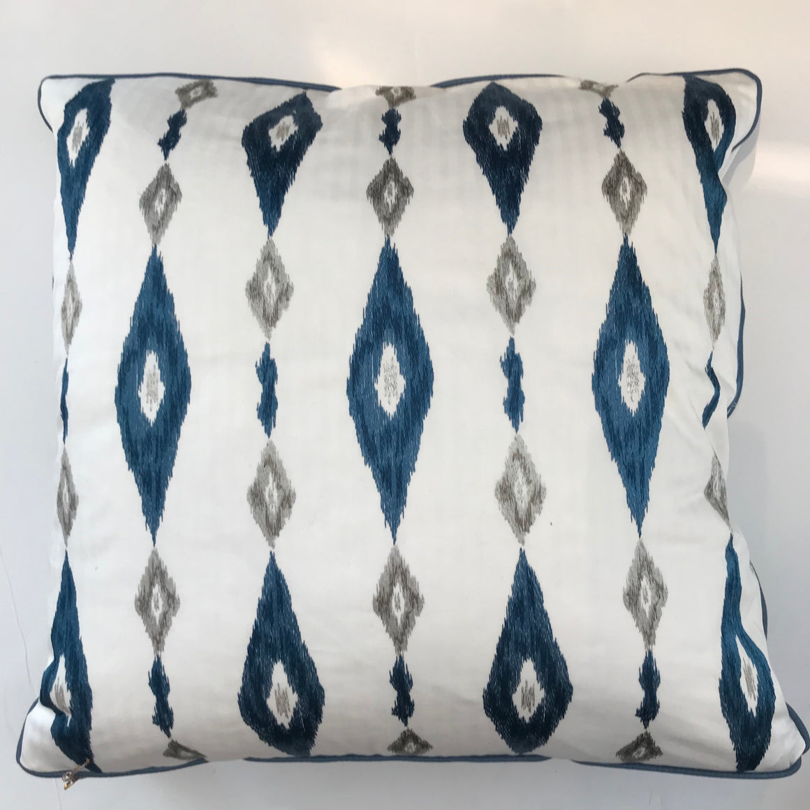 BECKY PILLOW - Blue and White Pattern- 23 x 23- TWO In Stock- FREE SHIPPING