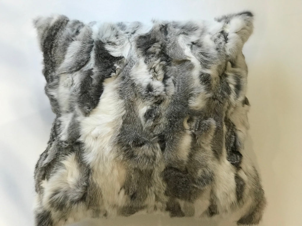 REX GRAY MIX PILLOW- Gray and White Fur- 22x22