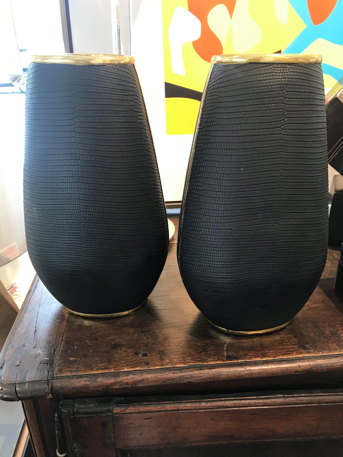 Black Snake Skin Vase Gold Trim Large