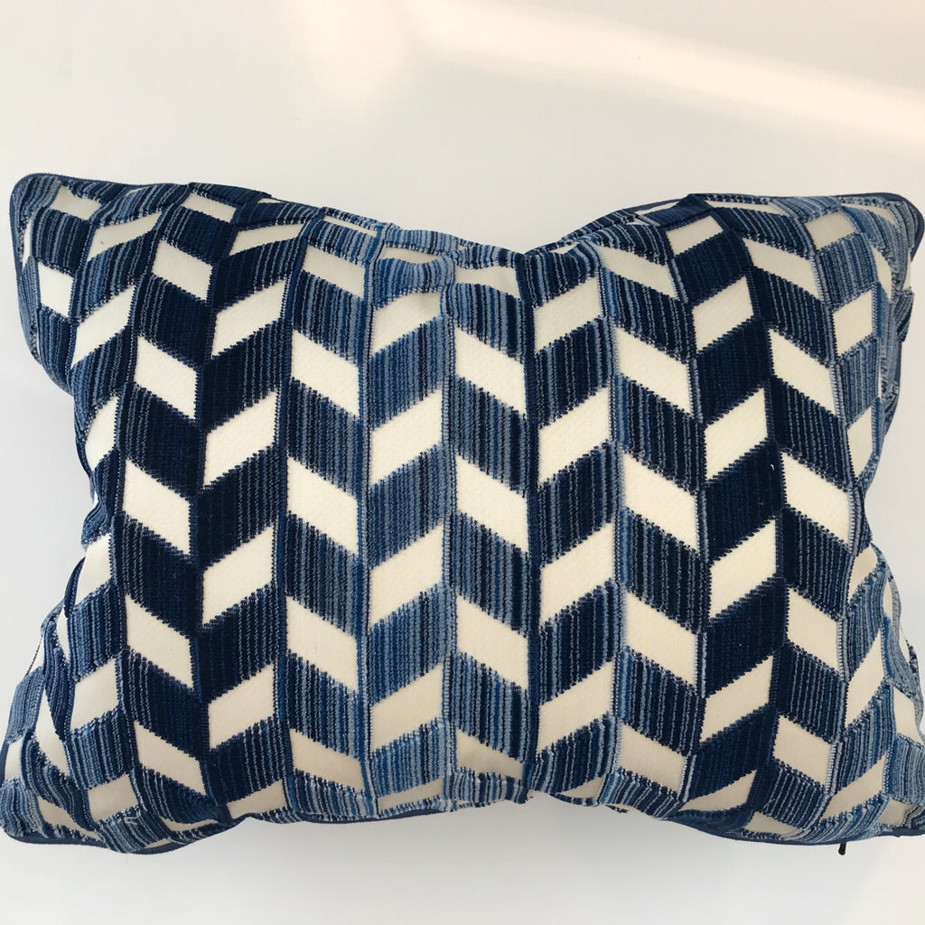 BETH LUMBAR PILLOW- Navy and White Pattern- 14x20- TWO In Stock