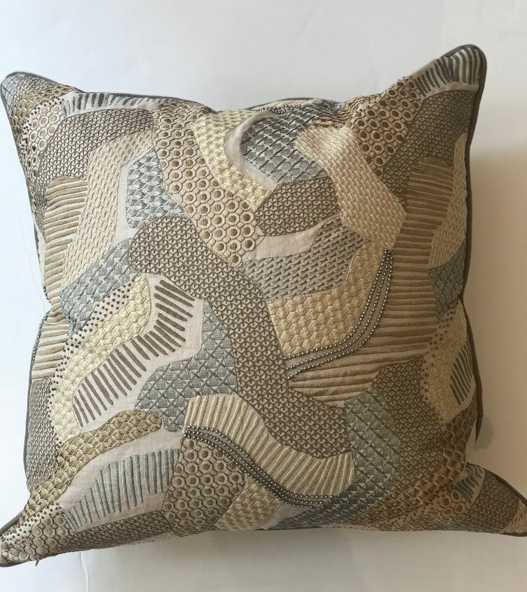 EMY PILLOW -Taupe and Grey Print - 22 x 22x- Two in Stock