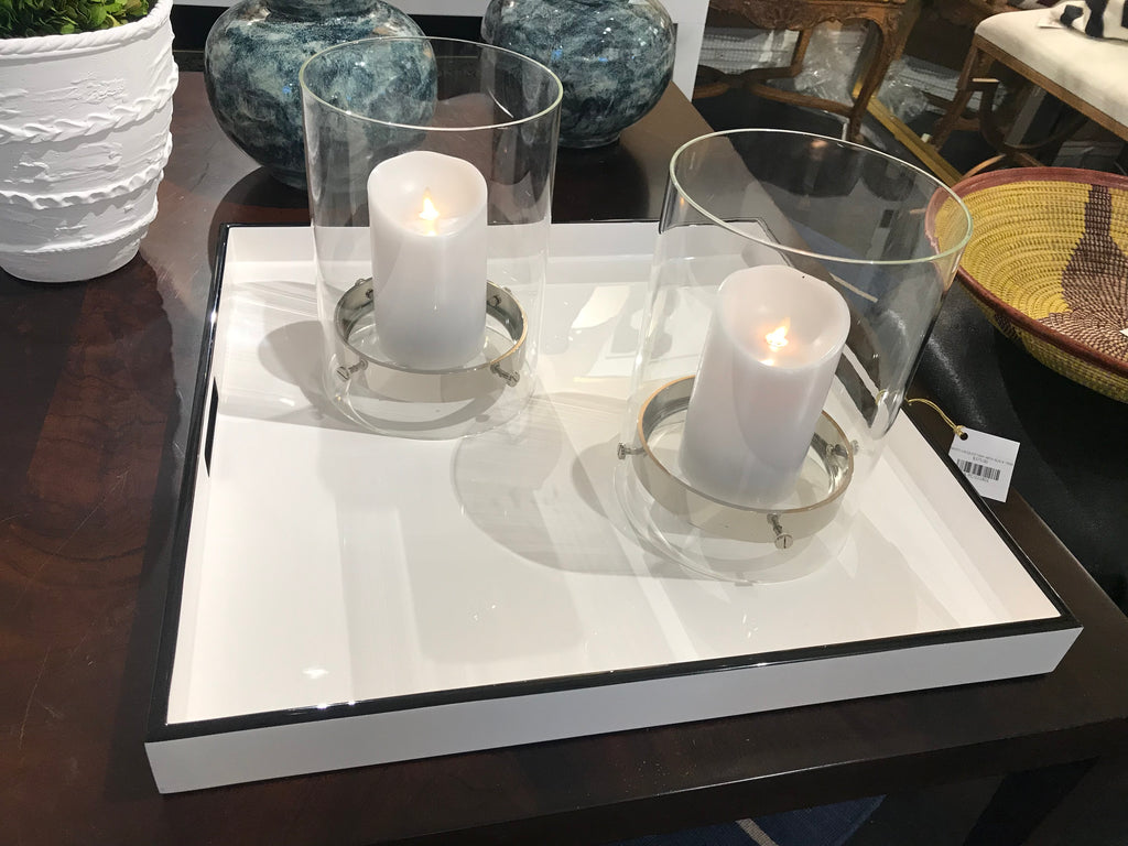 WHITE LACQUER TRAY WITH BLACK TRIM