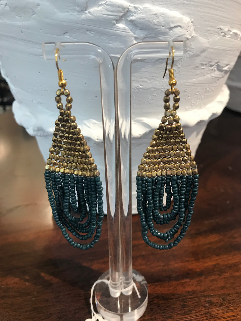 MONTE CARLO BLUE AND GOLD BEADED EARRINGS
