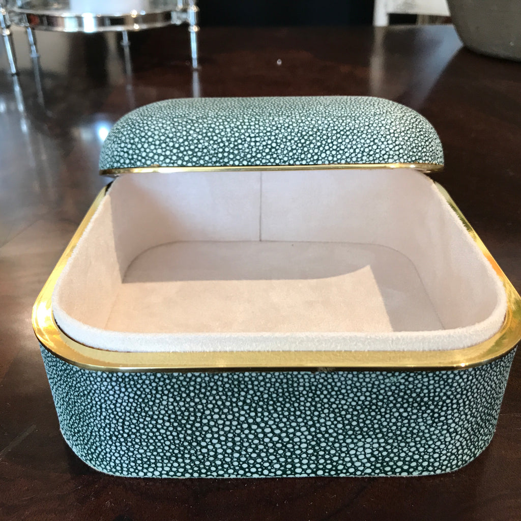 EMERALD SHAGREEN SQUARE BOX