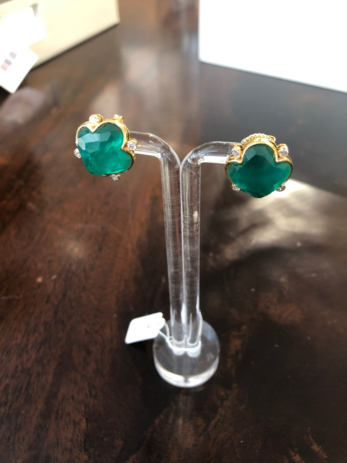 Clover earrings in green and gold