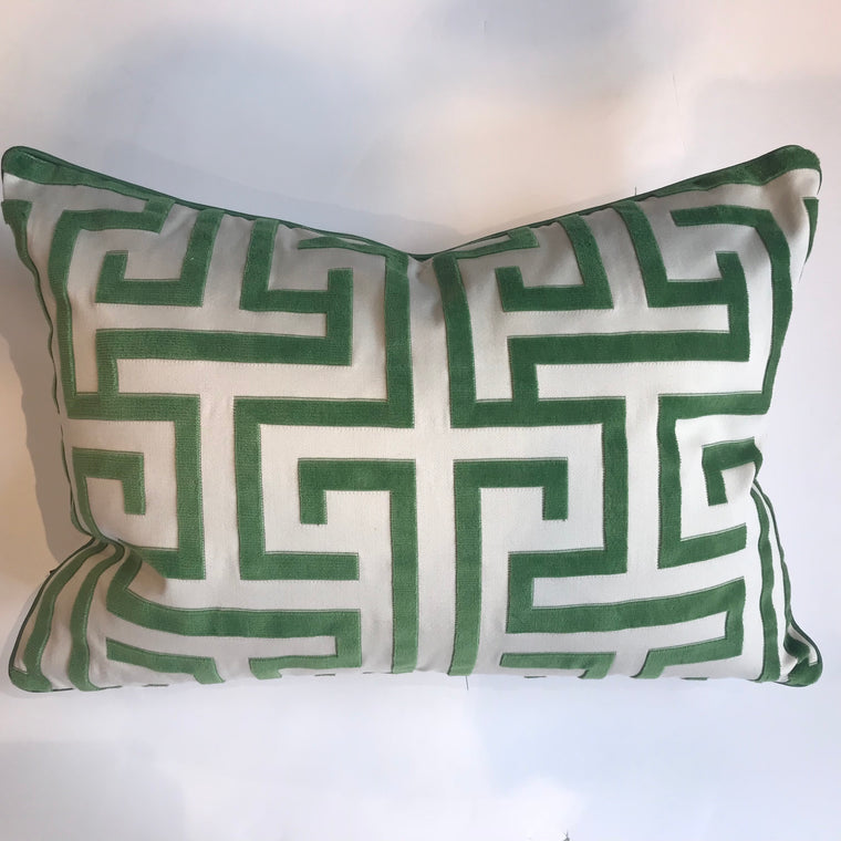 MING TRAIL GREEN PILLOW - 14x20- TWO In Stock