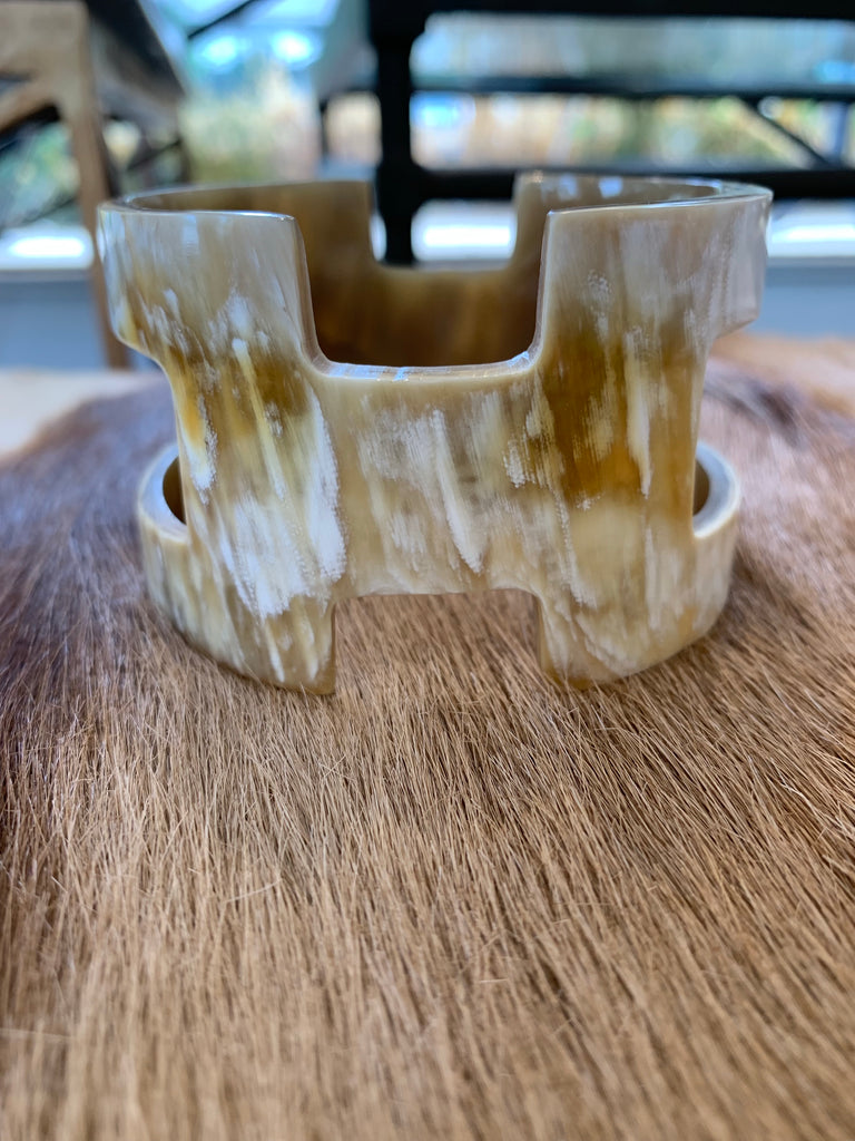 BUFFALO HORN BANGLE WITH GEOMETRIC CUT OUTS