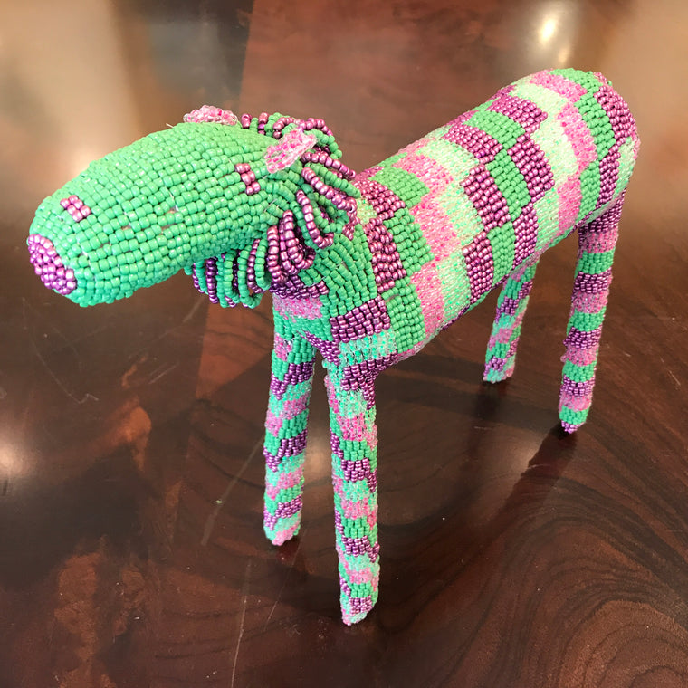 BEADED LION- Green and Purple